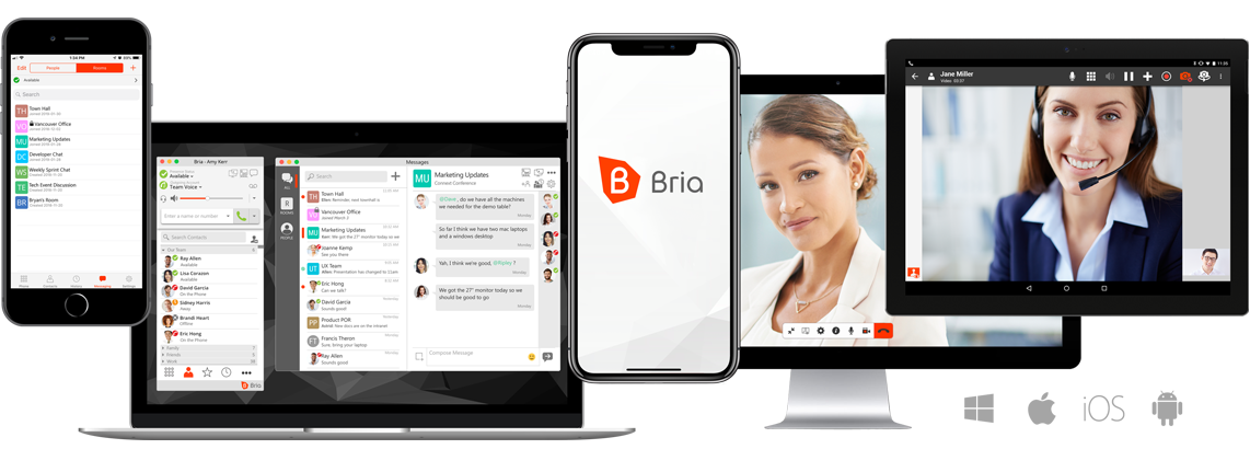 CounterPath Bria softphone client for Smartphones iphone & android connecting with hosted PBX cloud PBX system for remote workers working from home